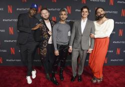 "Karamo Brown, from left, Bobby Berk, Tan France, Antoni Porowski and Jonathan Van Ness arrive at a For Your Consideration event for ""Queer Eye"" at Raleigh Studios in Los Angeles."