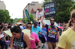 Bisexual activists at the Capital Pride Parade in DC