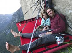 Michael Schneiter posing with his daughter, Selah Schneiter, during her climb up El Capitan in Yosemite National Park.