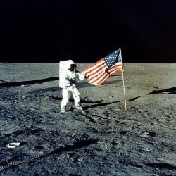 "In this Nov. 1969 photo made available by NASA, Apollo 12 mission Commander Charles P. ""Pete"" Conrad stands on the moon's surface"