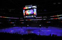 "The scoreboard shows ""Pride Night,"" before the start of an NHL hockey game between the Florida Panthers and the Anaheim Ducks in Sunrise, Fla."