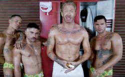 "Cazwell, center, in his ""I Love You"" music video."