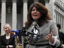 Author and political consultant Naomi Wolf speaks to reporters during a news conference in New York.