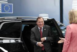 Swedish Prime Minister Stefan Lofven arrives for an EU summit at the Europa building in Brussels, Friday, June 21, 2019