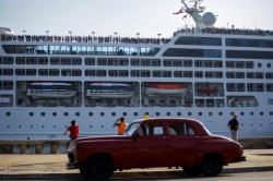 The Adonia cruise ship arriving in Havana, Cuba, from Miami.