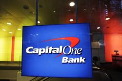 This May 11, 2012, file photo, shows a Capital One Bank office, in New York