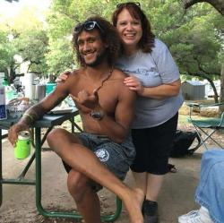Casey Williamson, left, and his mother Carla Ajaga in Possum Kingdom Lake, Texas.