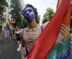 People take part in the annual Pride parade in Kiev, Ukraine.