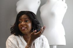 In this June 4, 2019, photo Ezinne Kwubiri, H&M's Head of Diversity and Inclusion, North America, is interviewed in their New York headquarters