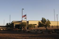 This June 20, 2019, file frame from video shows the entrance of a Border Patrol station in Clint, Texas