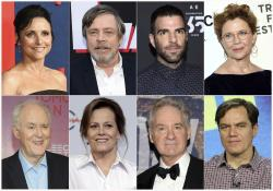 "Top row from left, Julia Louis-Dreyfus, Mark Hamill, Zachary Quinto, Annette Bening and bottom row from left, John Lithgow, Sigourney Weaver, Kevin Kline and Michael Shannon, who will participate in a live reading of passages from the Mueller report for ""The Investigation: A Search for the Truth in Ten Acts."""
