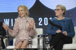 "Nicole Kidman, left, and Meryl Streep participate in the ""Big Little Lies"" panel during the HBO portion of the TCA Winter Press Tour."