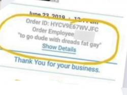 A screen capture of the receipt with the offensive comment on it