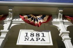 The entrance to 1881 Napa in Oakville, Calif. 1881 Napa, a wine history museum and tasting salon.