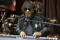 """Stevie Wonder performs live at the """"House Full of Toys 22nd Annual Benefit Concert"""" press conference in Los Angeles."""