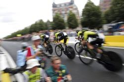 Mitchelton Scott team strains during the second stage of the Tour de France cycling race.