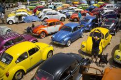 "In this April 21, 2017 file photo, Volkswagen Beetles are displayed during the annual gathering of the ""Beetle club"" in Yakum, central Israel"