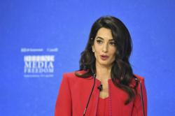 Amal Clooney spekas during the Global Conference for Media Freedom at The Printworks in London, Wednesday, July 10, 2019