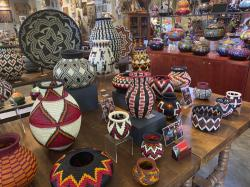 A collection of Wounaan woven baskets from Colombia, at Galeria Atotonilco near San Miguel de Allende, Mexico.