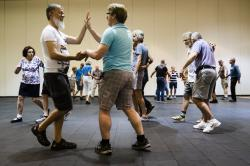 Jorge Velasquez of Toronto, left, and Matthew Lytthouse, of Vermont, during the annual International Association of Gay Square Dance Clubs convention in Philadelphia.