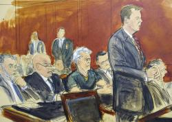 In this courtroom artist's sketch, defendant Jeffrey Epstein, center, listens as Assistant U.S. Attorney Alex Rossmiller, right, addresses the court during Epstein's arraignment, Monday, July 8, 2019 in New York.