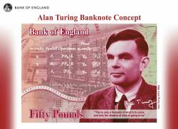 The concept of the new 50 pound note bearing the image of Second World War code-breaker Alan Turing.