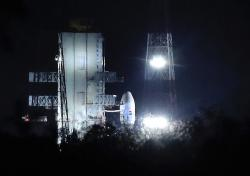 Indian Space Research Organization (ISRO)'s Geosynchronous Satellite launch Vehicle (GSLV) MkIII carrying Chandrayaan-2 stands at Satish Dhawan Space Center after the mission was aborted at the last minute at Sriharikota, in southern India, Monday, July 15, 2019