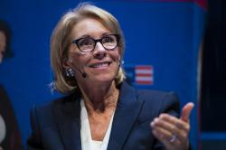 In this Sept. 17, 2018, file photo, Education Secretary Betsy DeVos speaks during a student town hall at the National Constitution Center in Philadelphia