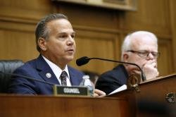 Rep. David Cicilline, D-R.I., left, chair of the House Judiciary antitrust subcommittee, speaks alongside ranking member, Rep. Jim Sensenbrenner, R-Wisc., during a House Judiciary subcommittee hearing with representatives from major tech companies, Tuesday, July 16, 2019, on Capitol Hill in Washington