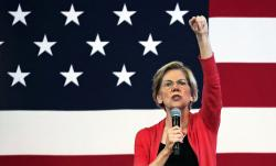 Democratic presidential candidate Sen. Elizabeth Warren, D-Mass., speaks during a campaign stop at town hall in Peterborough, N.H., Monday, July 8, 2019