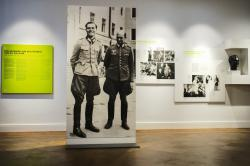 In this Friday, July 12, 2019 photo a picture of Claus Schenk Graf von Stauffenberg, left, and Albrecht Ritter Merz von Quirnheim is displayed a the exhibition at the German Resistance Memorial Center inside the Bendlerblock building of the defensive ministry in Berlin. Stauffenberg was one of the leaders of the failed assassinate to Adolf Hitler one July 20, 1944