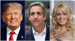 This combination of file photo shows, from left, President Donald Trump, attorney Michael Cohen and adult film actress Stormy Daniels