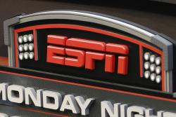 This Sept. 16, 2013, file photo shows the ESPN logo prior to an NFL football game between the Cincinnati Bengals and the Pittsburgh Steelers, in Cincinnati