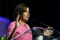Speaker of the House Nancy Pelosi, D-Calif., addresses the NAACP convention, Monday, July 22, 2019, in Detroit