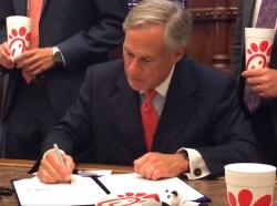 Governor Abbott ceremonially signs the Chick-fil-A Bill
