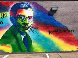 The defaced mural of gay playwright Lynn Riggs