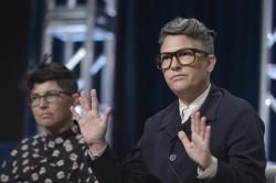 """Faith Soloway, left, and Jill Soloway participate in the Amazon Prime Video """"Transparent"""" panel at the Television Critics Association Summer Press Tour on Saturday, July 27, 2019, in Beverly Hills, Calif."""