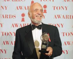 """Harold Prince in 1995 with the eighth Tony he won for direction (for """"Showboat""""). Prince won 21 Tony Awards for producing and directing over his career."""