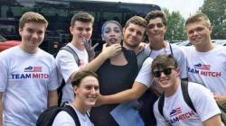 The photo of Mitch McConnell supporters with a standee of Alexandria Ocasio-Cortez