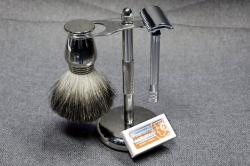 This photo, in New York, Tuesday, Aug. 6, 2019, shows a Col. Ichabod Conk shave set and Merkur double-edge razor blades