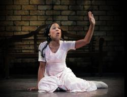 """Katherine Renee Turner in """"Measure for Measure,"""" which plays through August 24 at the Duke on 42nd Street."""