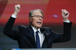 In a April 27, 2019 file photo, National Rifle Association Executive Vice President Wayne LaPierre speaks at the NRA Annual Meeting of Members in Indianapolis