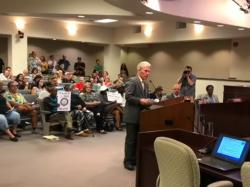 Don Grundmann of the 'National Straight Pride Coalition' told the Modesto City Council that his is a 'racist group' in what news outlets have reported asa slip of the tongue.