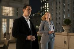"Jeremy Strong, left, and Sarah Snook, right in a scene from ""Succession."""