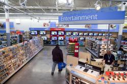 A view of the entertainment section of a Wal-Mart store is seen in Alexandria, Va.