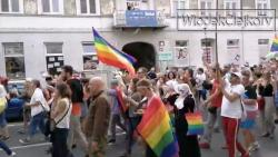 A screen shot of the LGBTQ Pride Parade in Plock. Poland