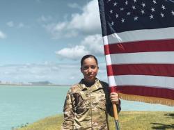 In this June 2019, photo, U.S. Air Force Senior Airman Xiara Mercado stands at Pearl Harbor, Hawaii.