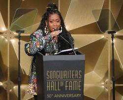 Missy Elliott speaking at the 50th annual Songwriters Hall of Fame induction and awards ceremony in New York.