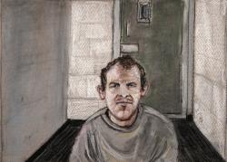 In this June 14, 2019, file courtroom drawing, Brenton Tarrant, the man accused of killing 51 people at two Christchurch mosques on March 15, 2019 appears via video link at the Christchurch District Court, from the maximum security prison in Auckland where he's being held, Christchurch, New Zealand