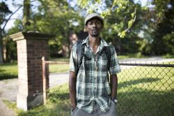 Trenton Burrell, who was diagnosed with hepatitis A, stands in Akron, Ohio.